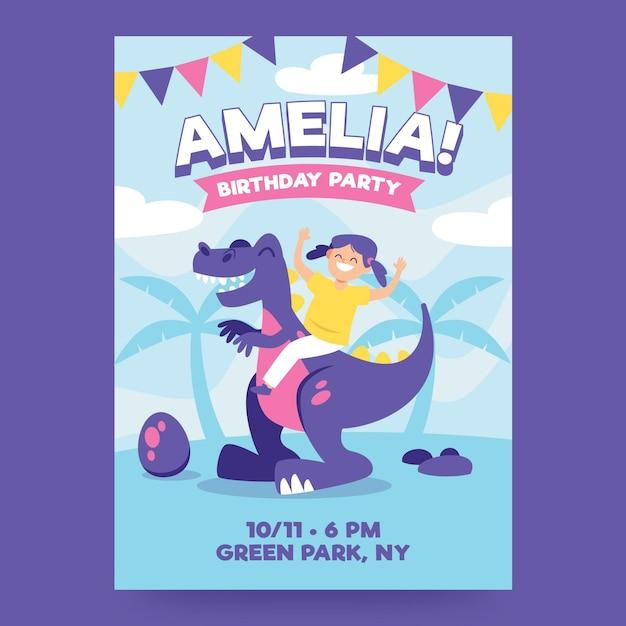 Children's birthday invitation template with dinosaur Premium Vector