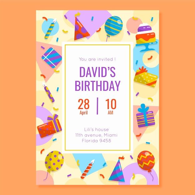 Modello di invito di compleanno per bambini con elementi Vettore gratuito
