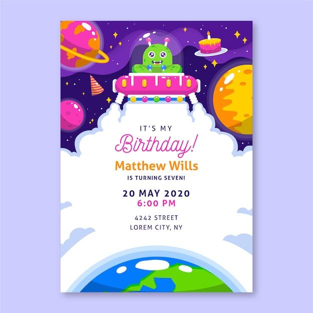 Modello di invito di compleanno per bambini con illustrazioni Vettore gratuito