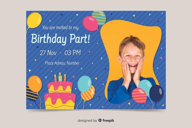 Children's birthday invitation template with photo Free Vector