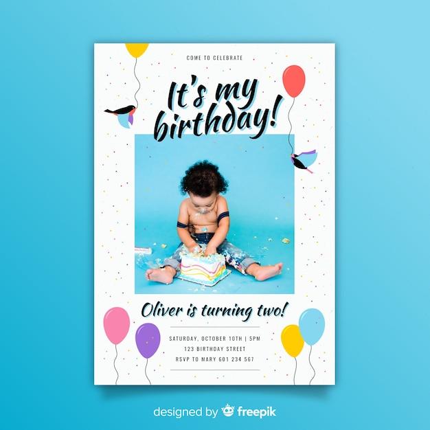 Children's birthday invitation template with photo Premium Vector