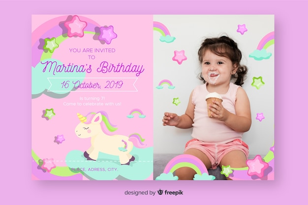 Children's birthday invitation template with photo Free Vector