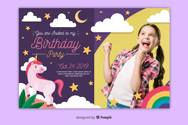 Children's birthday invitation template with pic Free Vector