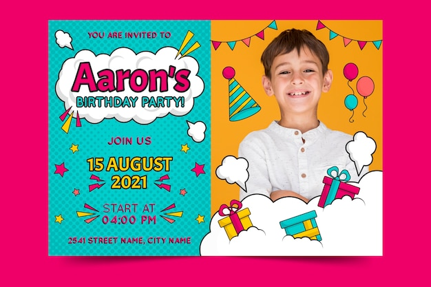 Children's birthday invitation template with presents Free Vector