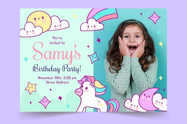 Children's birthday invitation template with rainbows and unicorns Free Vector