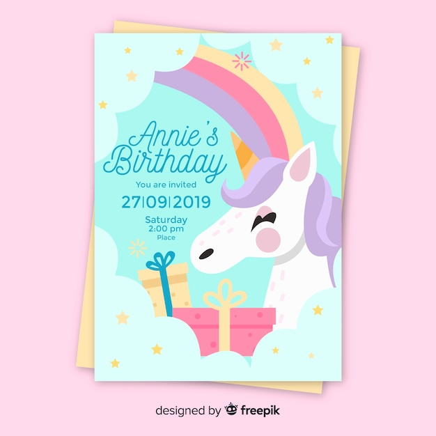 Children S Birthday Invitation Template With Unicorn Vector