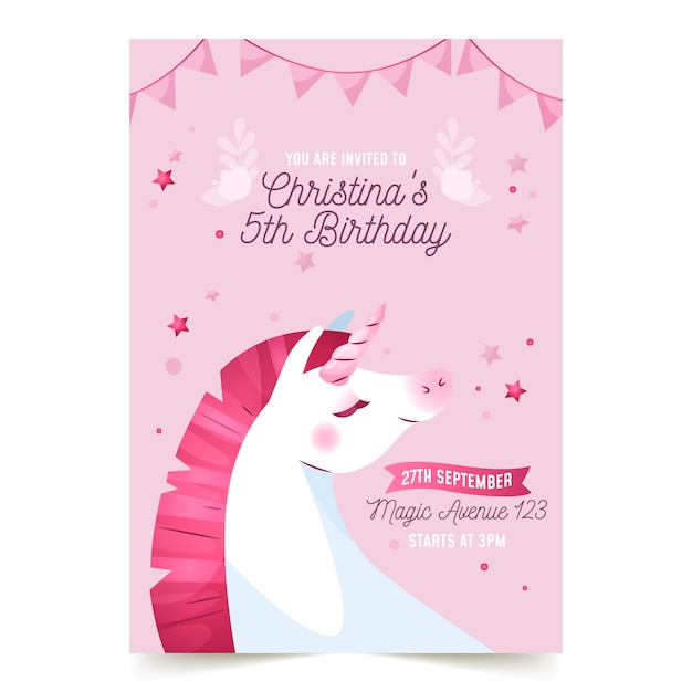 Children's birthday invitation template with unicorn Free Vector