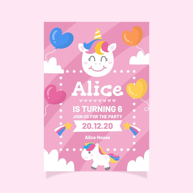 Children's birthday invitation template with unicorns and balloons Free Vector