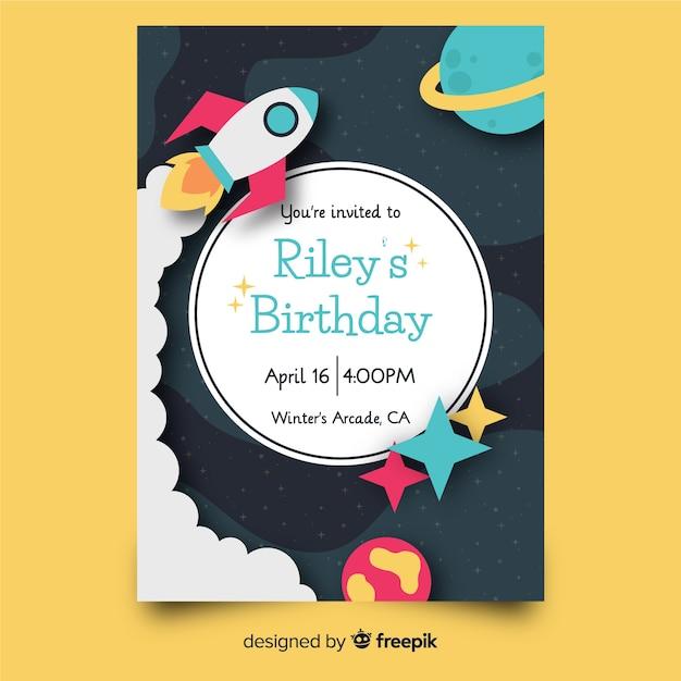 Children's birthday invitation template Free Vector