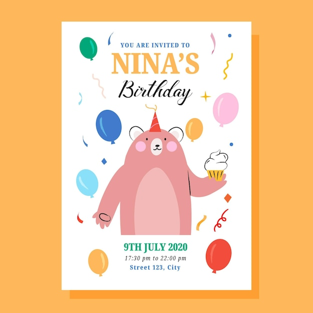Children's birthday invitation template Free Vector