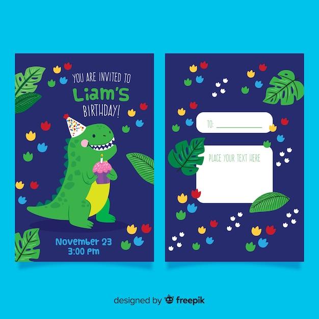 Children's birthday invitation with dinosaur Free Vector