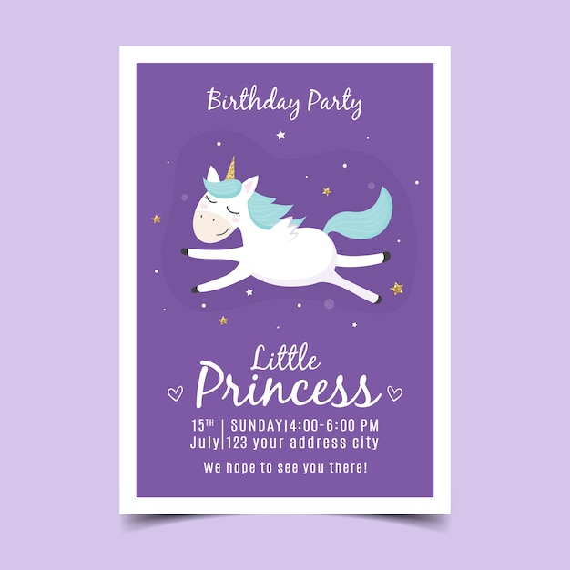 Children's birthday invitation with unicorn Premium Vector