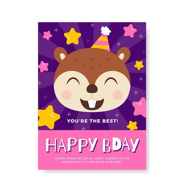Children's birthday invitation Free Vector
