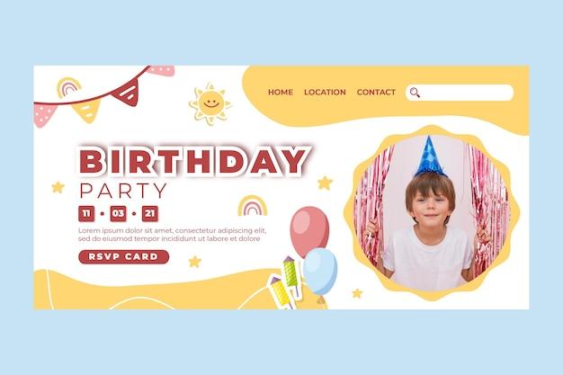 Modello di pagina di destinazione del compleanno dei bambini Vettore gratuito