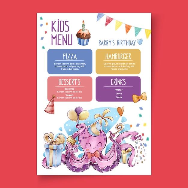Modello di menu di compleanno per bambini Vettore gratuito