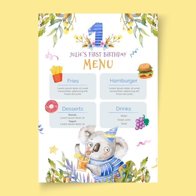 Шаблон меню детского дня рождения Бесплатные векторы