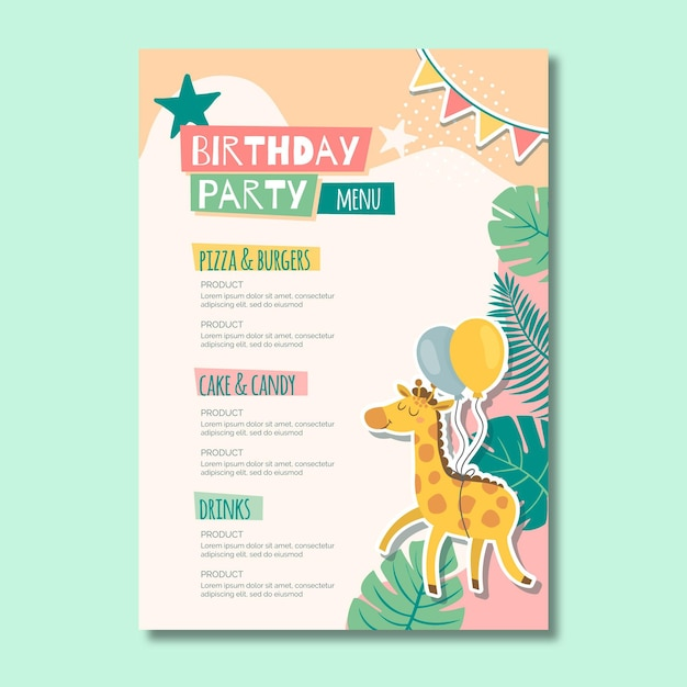 Children's birthday menu Premium Vector