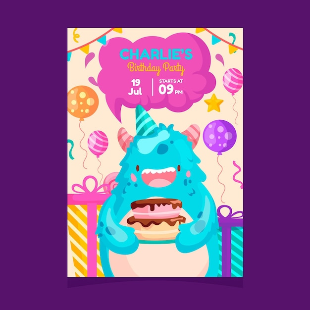 Children's birthday party invitation with cute monster Free Vector