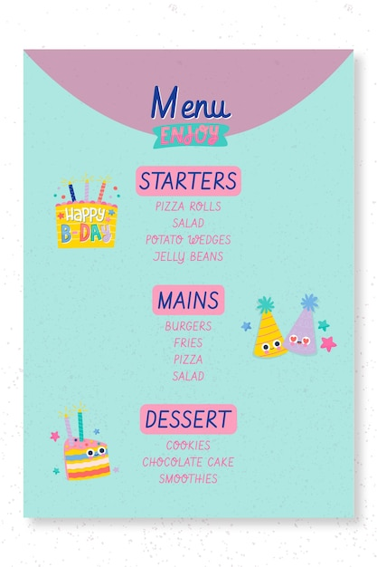 Children's birthday party menu template Free Vector