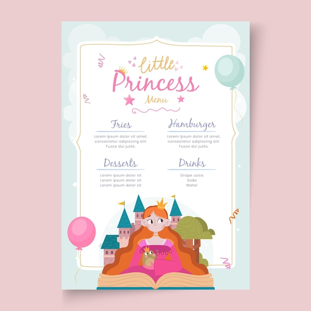 Children's birthday restaurant menu template Free Vector