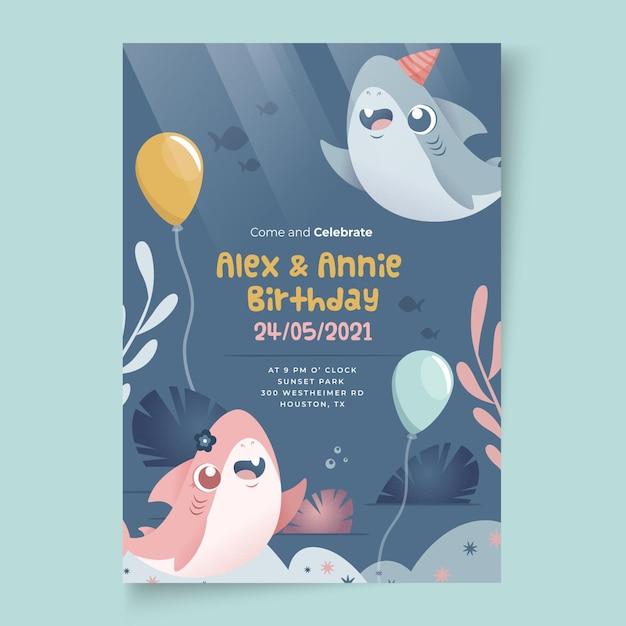 Детский шаблон для печати на день рождения акулы Бесплатные векторы