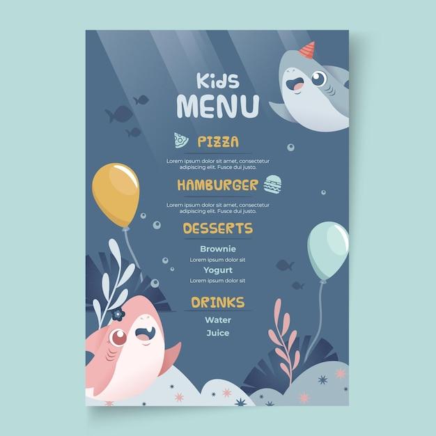 Modello di menu squalo compleanno per bambini Vettore gratuito