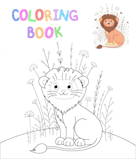 Children s coloring book with cartoon animals. educational tasks for preschool children cute lion Premium Vector