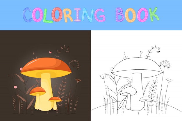 Children's coloring book with cartoon animals. educational tasks for preschool children cute mushrooms. Premium Vector