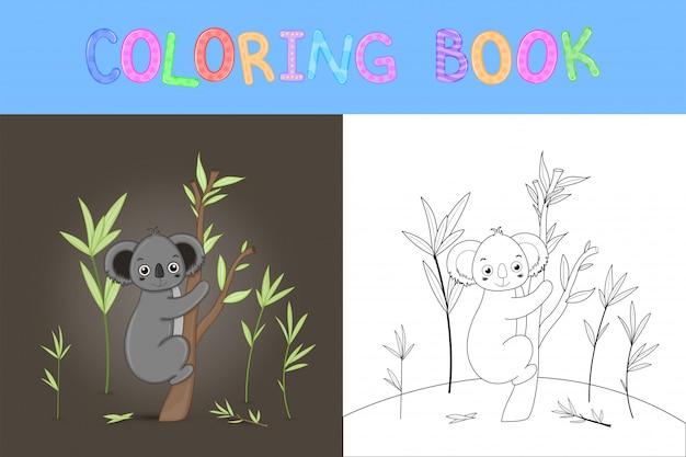 Children S Coloring Book With Cartoon Animals Vector Premium Download