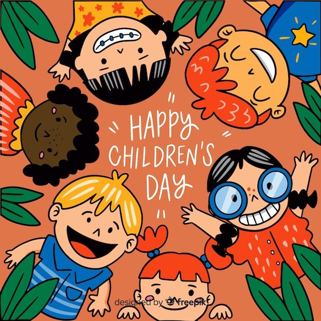 Children's day background in hand drawn style Free Vector