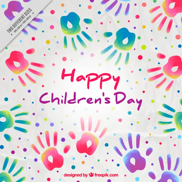 Childrens day background of paint handprints Vector Free Download
