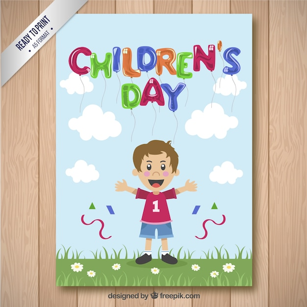 Children\'s day card with a boy