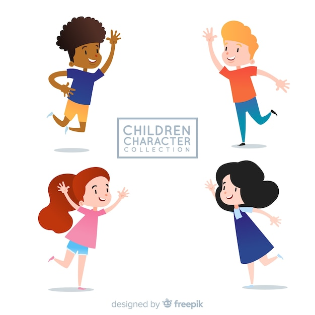 Children's day characters collection Free Vector