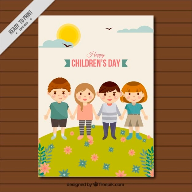 Children\'s day greeting card of guys\ together