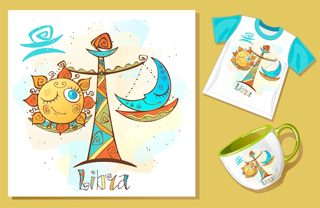 Children's horoscope icon. zodiac for kids. libra sign Premium Vector
