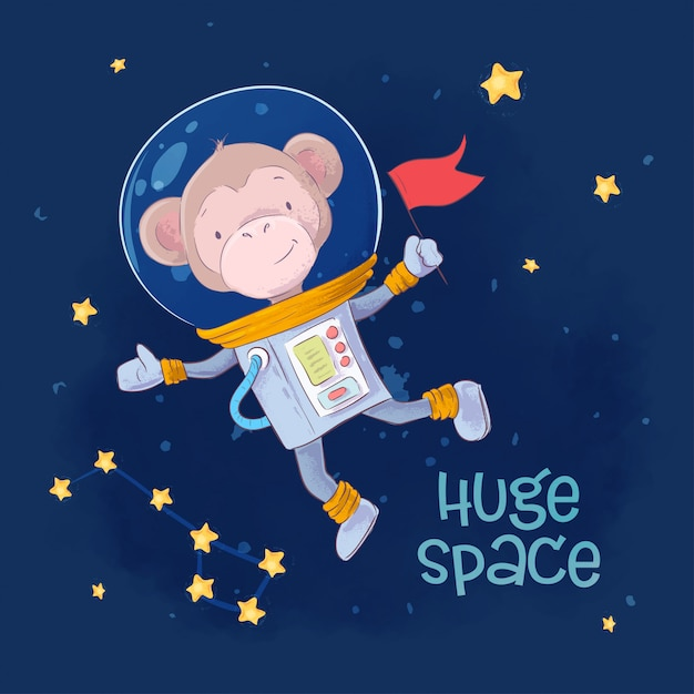 Children's illustration cute monkey astronaut in space with the constellations and stars Premium Vector