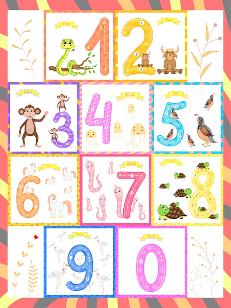 Children's learning to count and write. the study of numbers 0-10 Premium Vector