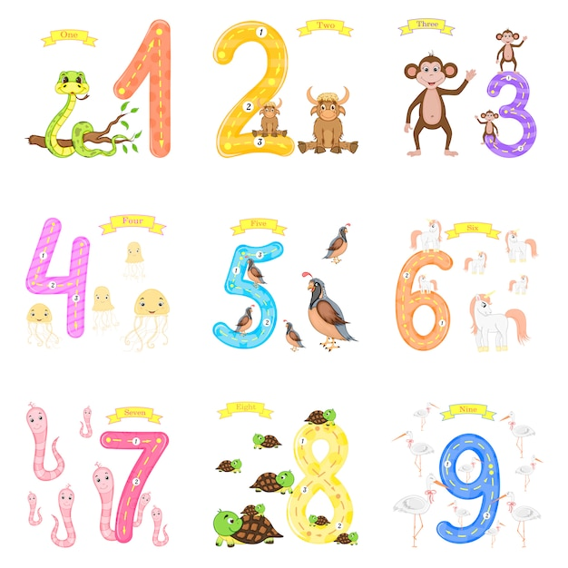 Children's learning to count and write Premium Vector