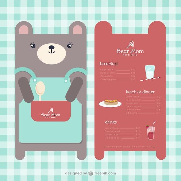 children s menu template in bear shape vector free download