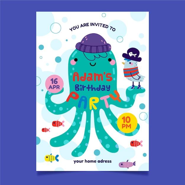 Приглашение на детский праздник и осьминог с шапкой Бесплатные векторы