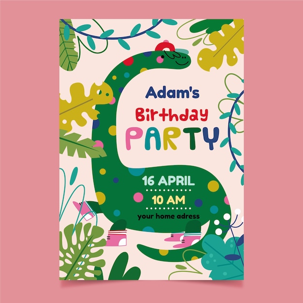 Children's party invitation and cute dinosaur Free Vector
