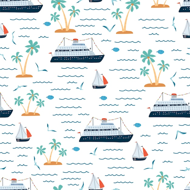 Children's sea seamless pattern with cruise ship, sailboat, palm tree in cartoon style. cute texture for kids room. Premium Vector
