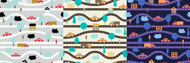 Children's seamless pattern with roads, cars, trees, traffic lights, houses and clouds. Premium Vector