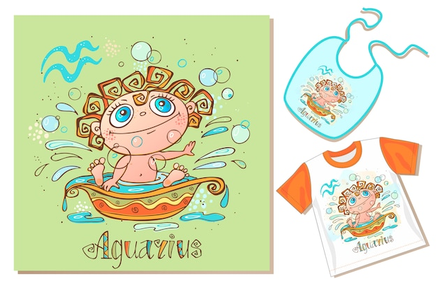 Children's zodiac. aquarius sign. examples of application on t-shirt and bib. Premium Vector