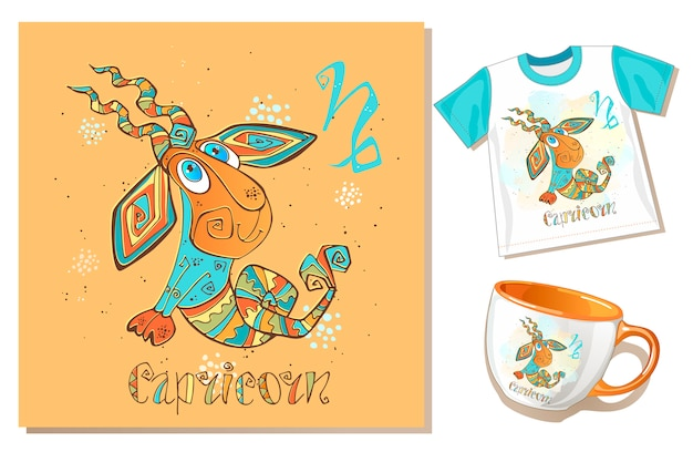 Children's zodiac. capricorn. application examples on t-shirt and mug. Premium Vector