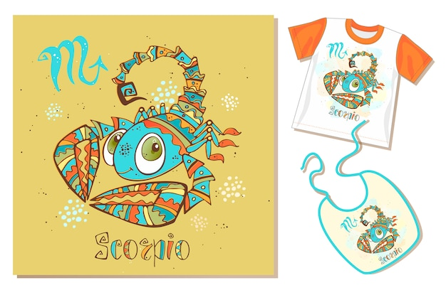 Children's zodiac. scorpio sign. examples of application on t-shirt and bib. Premium Vector