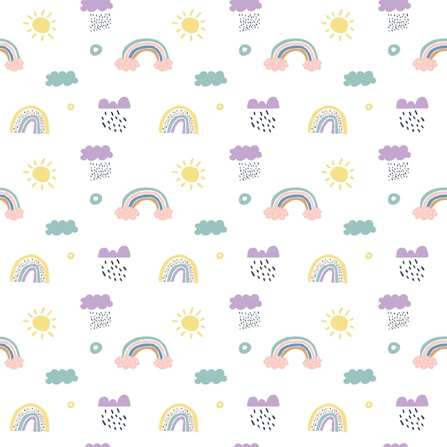 Children  scandinavian seamless pattern clouds, rain, sun and rainbow Premium Vector