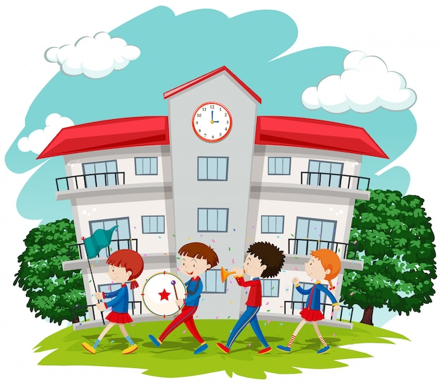 Children in school band at school Free Vector