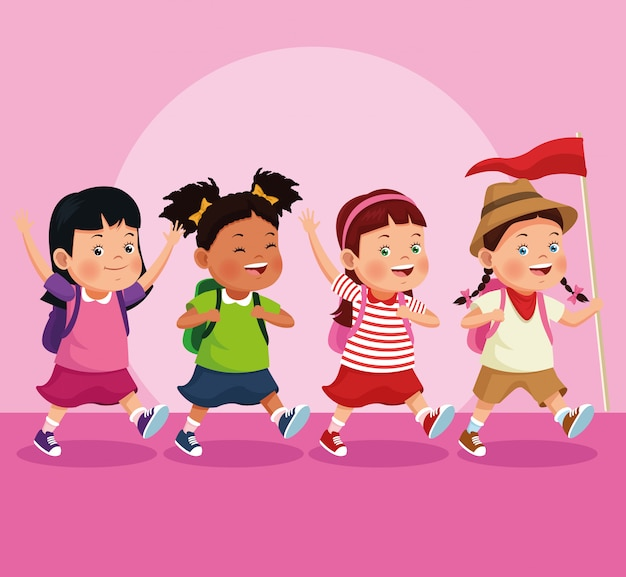 Children on school field trip Free Vector