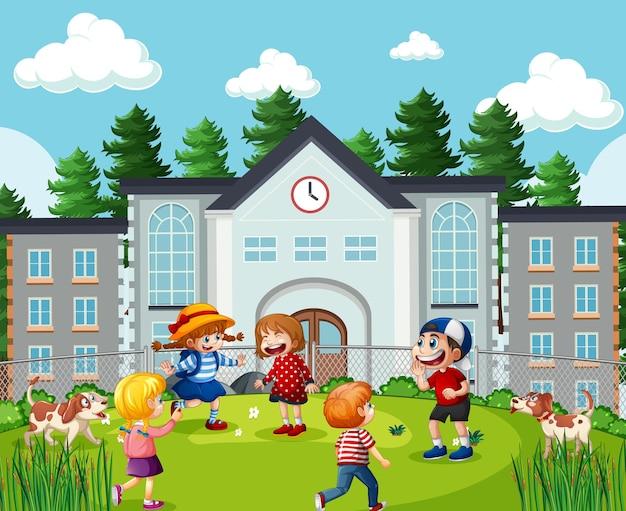 Bambini nella scena scolastica Vettore gratuito